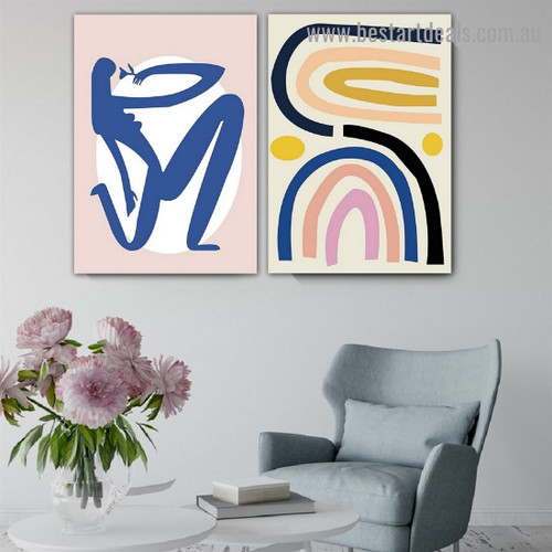 Blue Lady Figure Abstract Scandinavian Framed Portrait Picture Canvas Print for Room Wall Drape