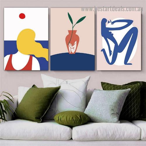 Blue Sea Botanical Figure Abstract Scandinavian Framed Artwork Photo Canvas Print for Room Wall Drape