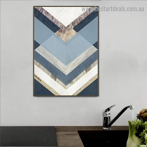 Abstract Blue Geometric Modern Framed Portrait Photo Canvas Print for Room Wall Adornment