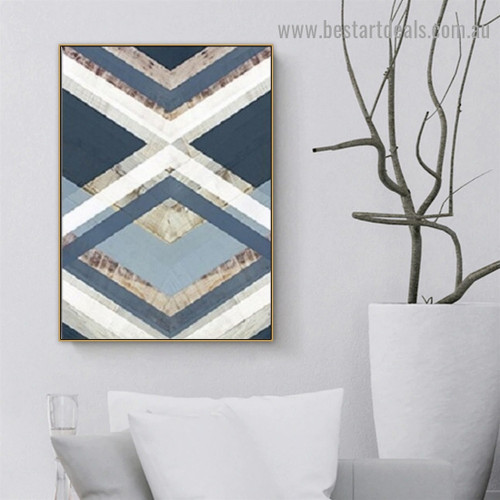 Geometric Triangle Abstract Modern Framed Artwork Picture Canvas Print for Room Wall Flourish