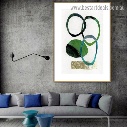 Curved Spot Abstract Watercolor Framed Artwork Image Canvas Print for Room Wall Flourish