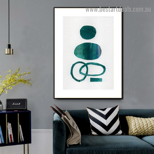 Circular Blots Abstract Watercolor Framed Portrait Picture Canvas Print for Room Wall Drape