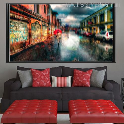 Town Street Lovely Cityscape Modern Canvas Artwork Print for Bedroom Room Wall Drape