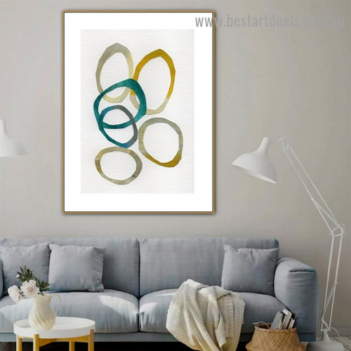 Spherical Smudge Abstract Watercolor Framed Artwork Photo Canvas Print for Room Wall Garniture