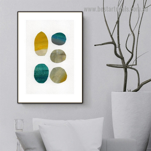 Curvy Patch Abstract Watercolor Framed Portrait Picture Canvas Print for Room Wall Garniture