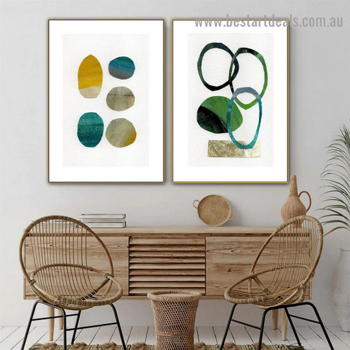 Round Splashes Abstract Watercolor Framed Artwork Photo Canvas Print for Room Wall Decoration