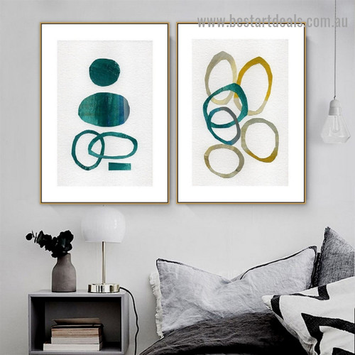 Globular Spot Abstract Watercolor Framed Portrait Painting Canvas Print for Room Wall Décor