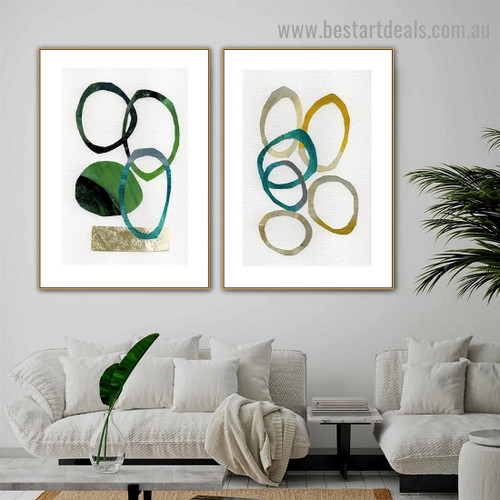 Winding Smear Abstract Watercolor Framed Artwork Portrait Canvas Print for Room Wall Garnish