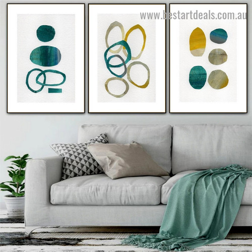 Annular Speckle Abstract Watercolor Framed Portrait Image Canvas Print for Room Wall Ornament