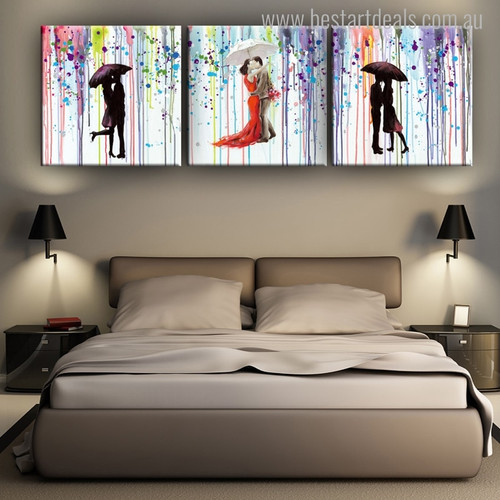 Romantic Kisses Abstract Painting Canvas Picture Print for Living Room Wall Outfit