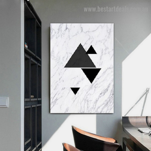 Triangular Design Abstract Nordic Framed Portrait Image Canvas Print for Room Wall Drape