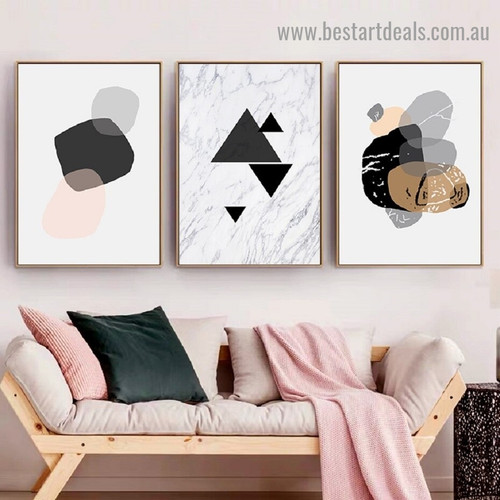 Geometric Triangle Abstract Nordic Framed Artwork Image Canvas Print for Room Wall Décor