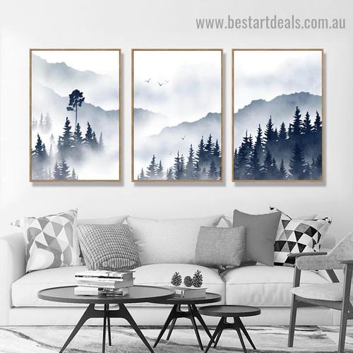 Foggy Forest Botanical Landscape Watercolor Framed Artwork Photo Canvas Print for Room Wall Flourish