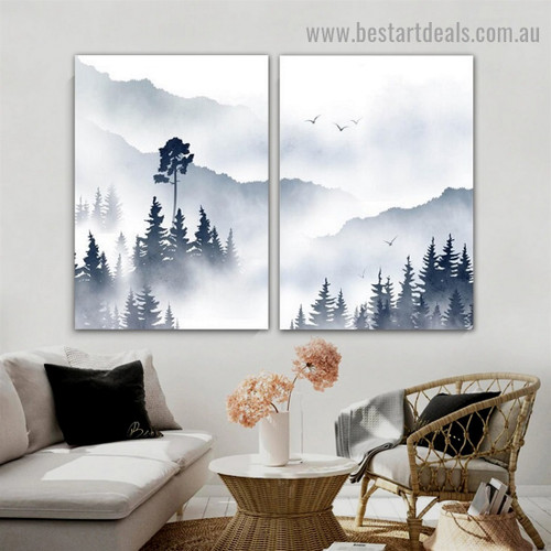Misty Mountain Botanical Landscape Watercolor Framed Portrait Picture Canvas Print for Room Wall Garniture