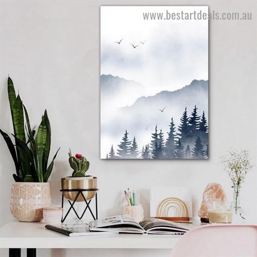 Hazy Wood Botanical Landscape Watercolor Framed Artwork Image Canvas Print for Room Wall Ornament