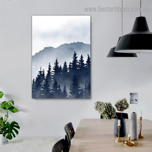 Cloudy Jungle Botanical Landscape Watercolor Framed Artwork Photo Canvas Print for Room Wall Drape