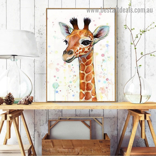 Baby Giraffe Animal Watercolor Framed Artwork Photo Canvas Print for Room Wall Adornment