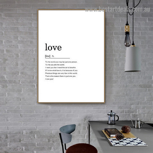 Love Quote Typography Nordic Framed Portrait Painting Canvas Print for Room Wall Ornament