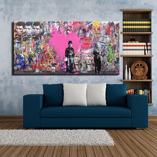 Charlie Chaplin Graffiti Abstract Figure Painting Print for Home Wall Decoration