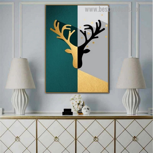 Deer Head Abstract Animal Nordic Framed Artwork Image Canvas Print for Room Wall Adornment