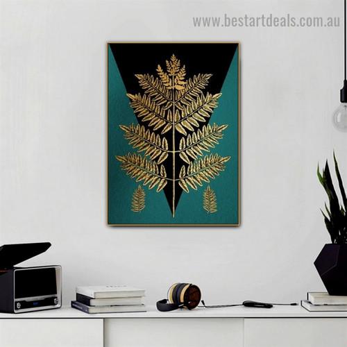 Golden Geometric Leaf Botanical Nordic Framed Portrait Image Canvas Print for Room Wall Flourish
