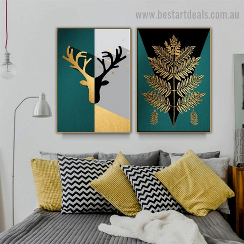 Auric Geometric Leaves Botanical Abstract Nordic Framed Artwork Photo Canvas Print for Room Wall Garniture
