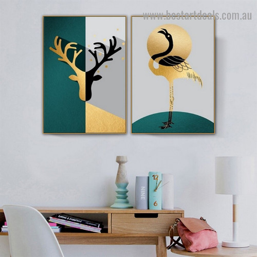 Multicolor Reindeer Head Abstract Bird Animal Nordic Framed Artwork Image Canvas Print for Room Wall Adornment