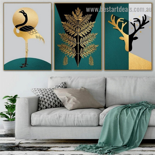 Golden Hooper Botanical Abstract Animal Nordic Framed Portrait Painting Canvas Print for Room Wall Garniture