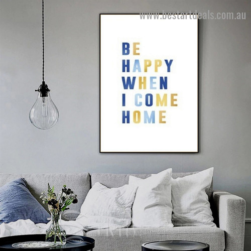 Be Happy Quote Typography Scandinavian Framed Portrait Painting Canvas Print for Room Wall Décor