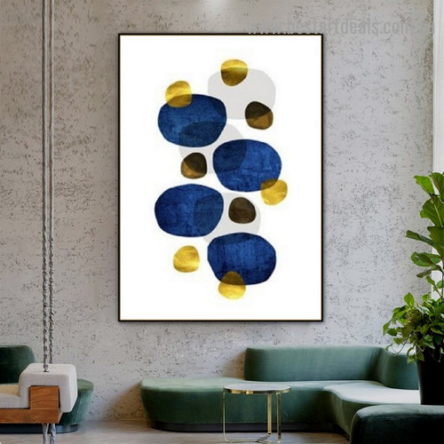 Multicolor Circular Blemish Abstract Scandinavian Framed Portrait Photo Canvas Print for Room Wall Ornament
