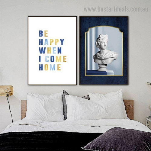 I Come Home Abstract Quote Typography Scandinavian Framed Portrait Painting Canvas Print for Room Wall Décor