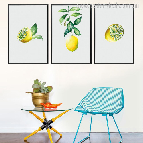 Lemon Slices Modern Botanical Food and Beverages Painting Print for Room Wall Garnish