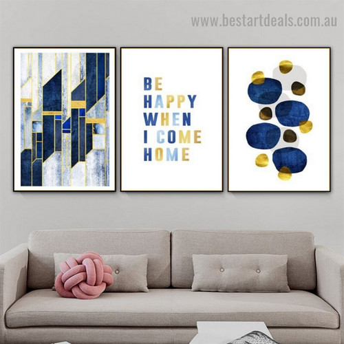 Circular Blots Abstract Quote Scandinavian Framed Artwork Picture Canvas Print for Room Wall Décor
