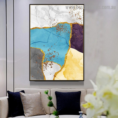 Colorful Marble Art Modern Abstract Framed Artwork Picture Canvas Print for Room Wall Drape