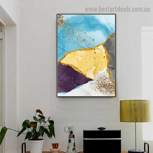 Dapple Marble Design Modern Abstract Framed Portrait Picture Canvas Print for Room Wall Adornment