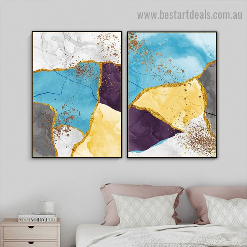 Multicolor Marble Pattern Modern Abstract Framed Artwork Image Canvas Print for Room Wall Decoration