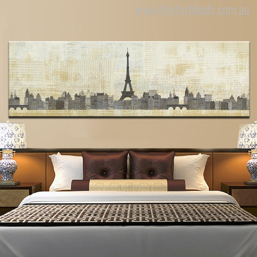 Eiffel Tower Paris Abstract Cityscape Modern Painting Canvas Artwork Print for Bedroom Wall Adornment