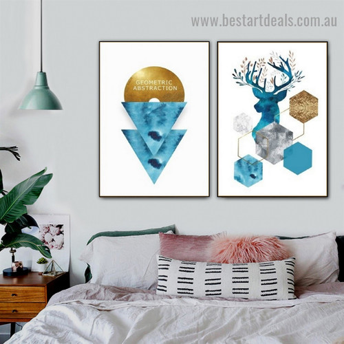 Blue Reindeer Abstract Animal Typography Modern Framed Portrait Picture Canvas Print for Room Wall Décor