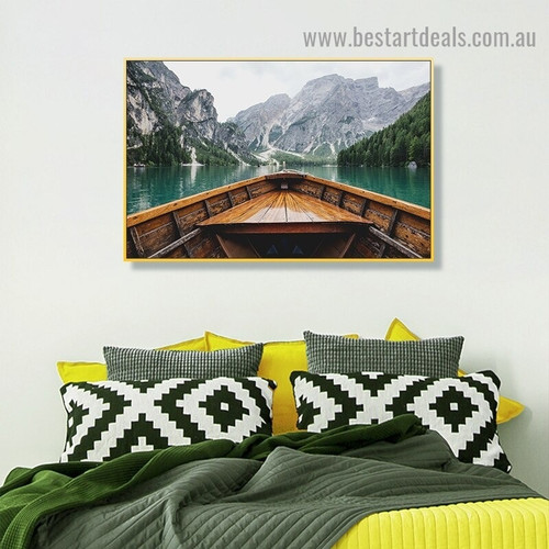 Wooden Boat Nature Landscape Scandinavian Framed Portrait Painting Canvas Print for Room Wall Flourish