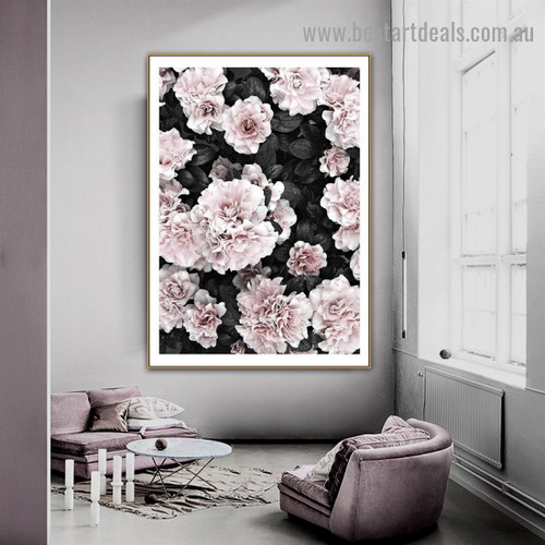 Faded Peony Flower Botanical Scandinavian Framed Portrait Photo Canvas Print for Room Wall Ornament