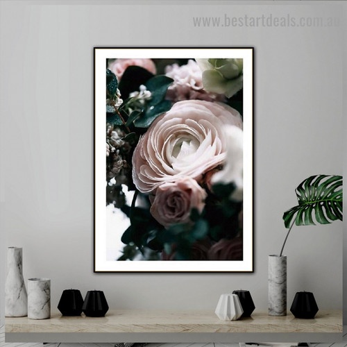 Colorless Rose Botanical Scandinavian Framed Artwork Photo Canvas Print for Room Wall Drape