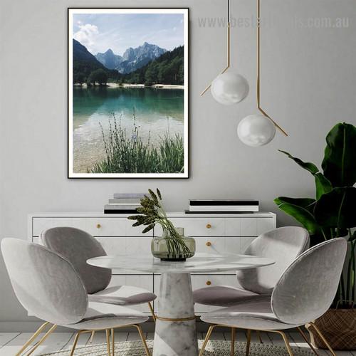 Mountain Scenery Botanical Nature Landscape Scandinavian Framed Portrait Image Canvas Print for Room Wall Decoration