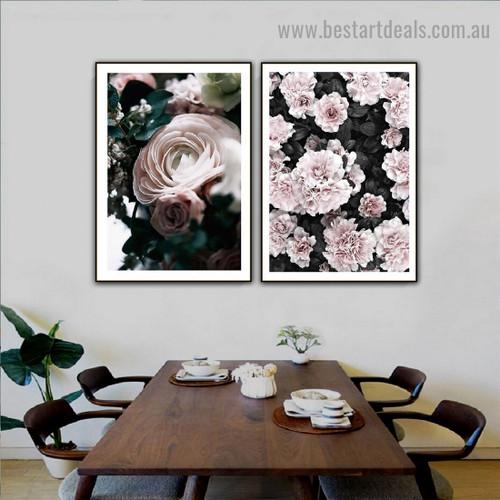 Vapid Flowers Botanical Scandinavian Framed Artwork Picture Canvas Print for Room Wall Flourish