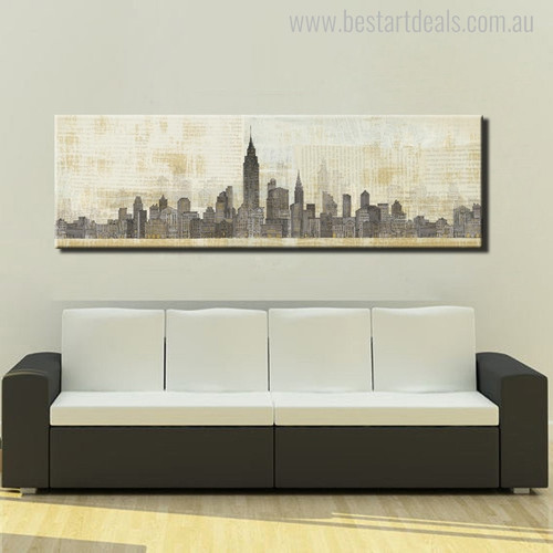 Empire State Building Abstract Cityscape Modern Panoramic Painting Canvas Print for Living Room Wall Drape