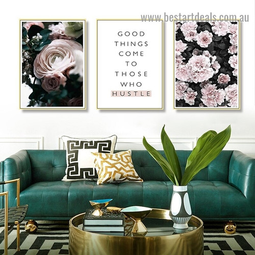 Hustle Quote Typography Botanical Scandinavian Framed Portrait Image Canvas Print for Room Wall Adornment