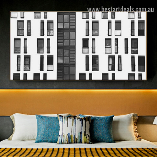 Many Windows Building Architecture Modern Framed Portrait Image Canvas Print for Room Wall Garniture