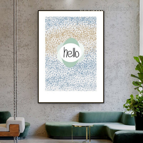 Hello Typography Scandinavian Framed Portrait Picture Canvas Print for Room Wall Flourish