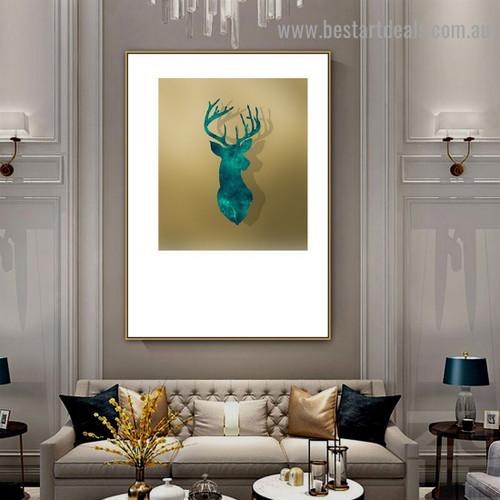 Deer Head Abstract Animal Scandinavian Framed Artwork Photo Canvas Print for Room Wall Drape