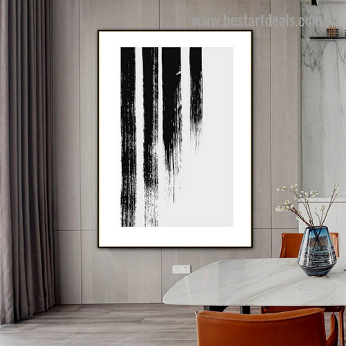 Black Brush Strokes Abstract Scandinavian Framed Portrait Picture Canvas Print for Room Wall Decoration
