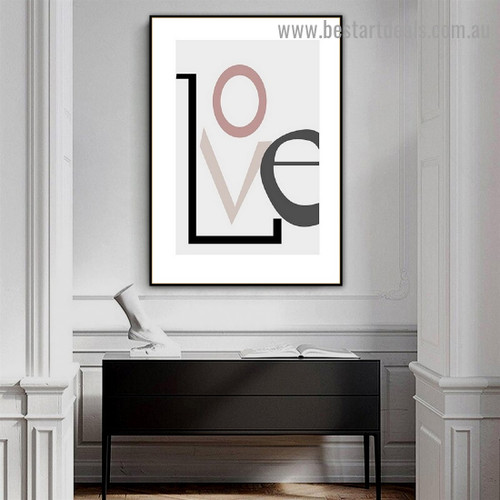 Stylish Love Typography Scandinavian Framed Artwork Photo Canvas Print for Room Wall Ornament